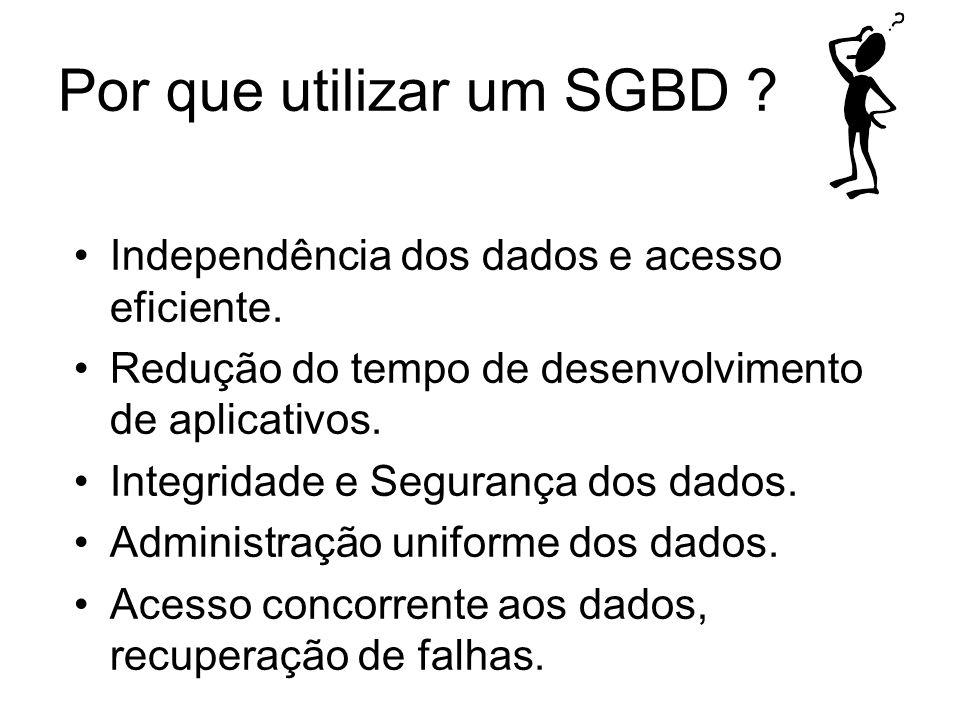Por que utilizar um SGBD ? Independência dos dados e acesso eficiente. Redução do tempo de desenvolvimento de aplicativos. Integridade e Segurança dos