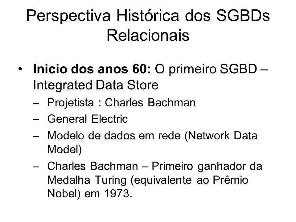 Perspectiva Histórica dos SGBDs Relacionais Inicio dos anos 60: O primeiro SGBD – Integrated Data Store –Projetista : Charles Bachman –General Electri