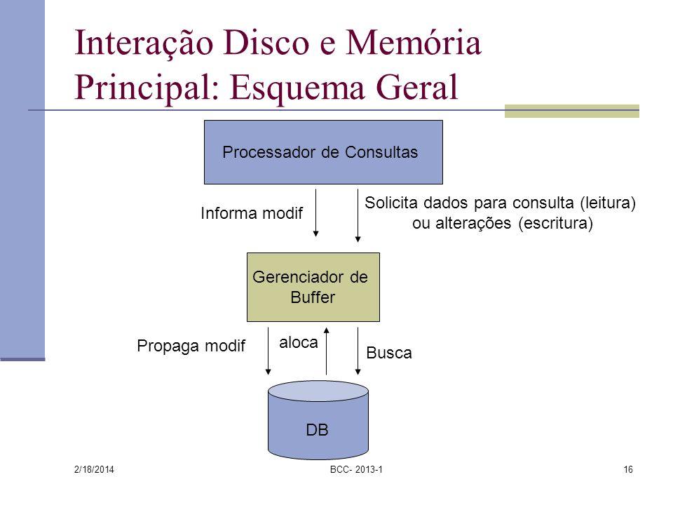 2/18/2014 BCC- 2013-116 Interação Disco e Memória Principal: Esquema Geral DB Processador de Consultas Gerenciador de Buffer Solicita dados para consu