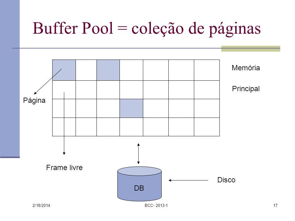2/18/2014 BCC- 2013-117 Buffer Pool = coleção de páginas Memória Principal Disco Frame livre Página DB