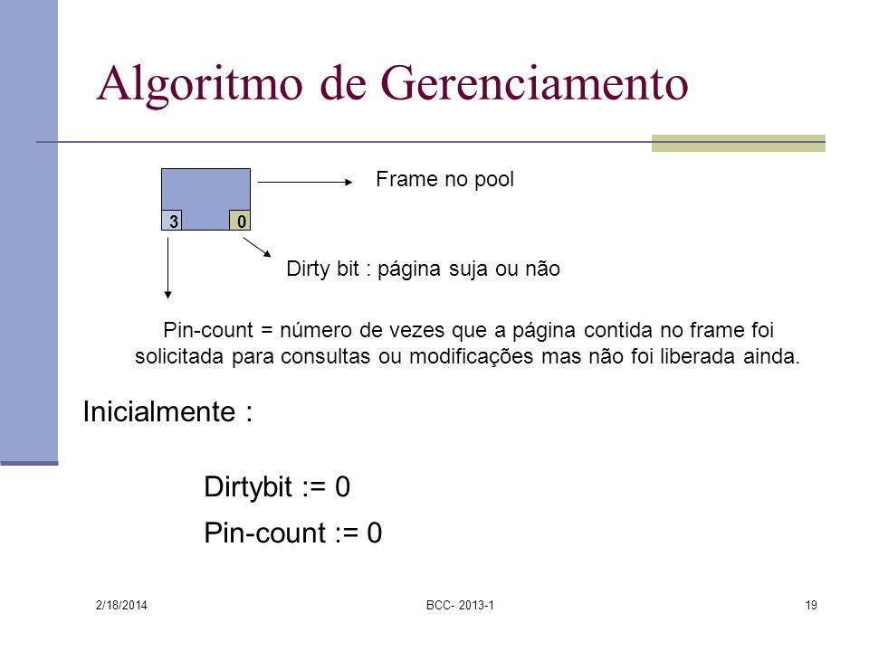 2/18/2014 BCC- 2013-119 Algoritmo de Gerenciamento 3 0 Frame no pool Dirty bit : página suja ou não Pin-count = número de vezes que a página contida n