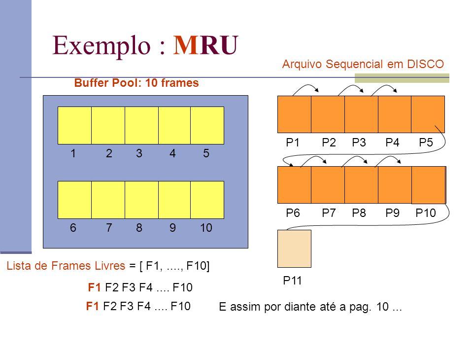Exemplo : MRU Buffer Pool: 10 frames 12345 678910 P1P2P3P4P5 P6P7P8P9P10 P11 Arquivo Sequencial em DISCO Lista de Frames Livres = [ F1,...., F10] F1 F