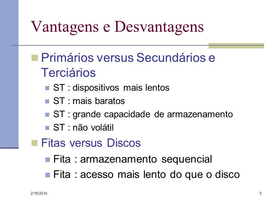 2/18/2014 5 Vantagens e Desvantagens Primários versus Secundários e Terciários ST : dispositivos mais lentos ST : mais baratos ST : grande capacidade