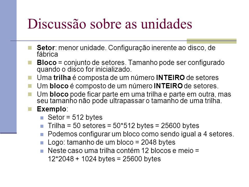 Discussão sobre as unidades Setor: menor unidade. Configuração inerente ao disco, de fábrica Bloco = conjunto de setores. Tamanho pode ser configurado