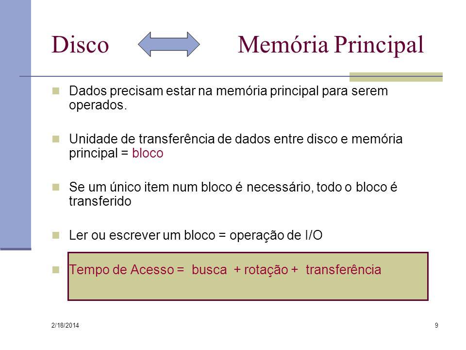 2/18/2014 9 Disco Memória Principal Dados precisam estar na memória principal para serem operados. Unidade de transferência de dados entre disco e mem