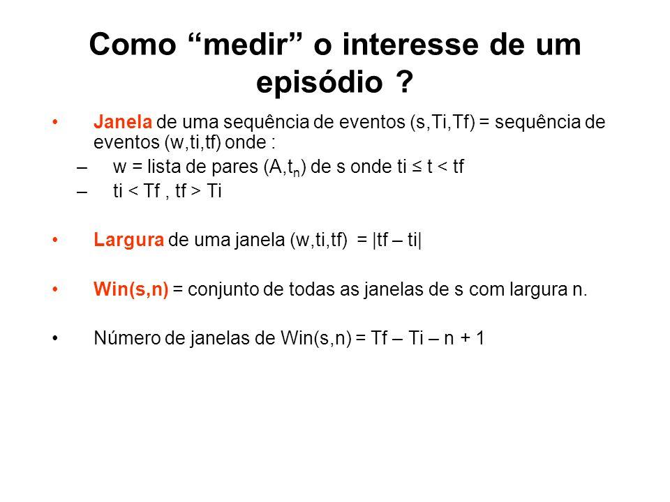 Como medir o interesse de um episódio ? Janela de uma sequência de eventos (s,Ti,Tf) = sequência de eventos (w,ti,tf) onde : –w = lista de pares (A,t