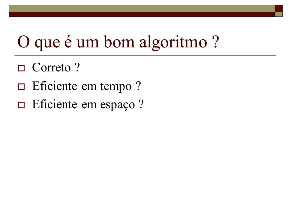 O que é um bom algoritmo ? Correto ? Eficiente em tempo ? Eficiente em espaço ?