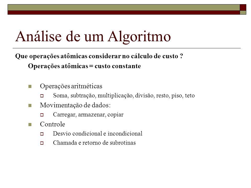 Análise de um Algoritmo Que operações atômicas considerar no cálculo de custo ? Operações atômicas = custo constante Operações aritméticas Soma, subtr