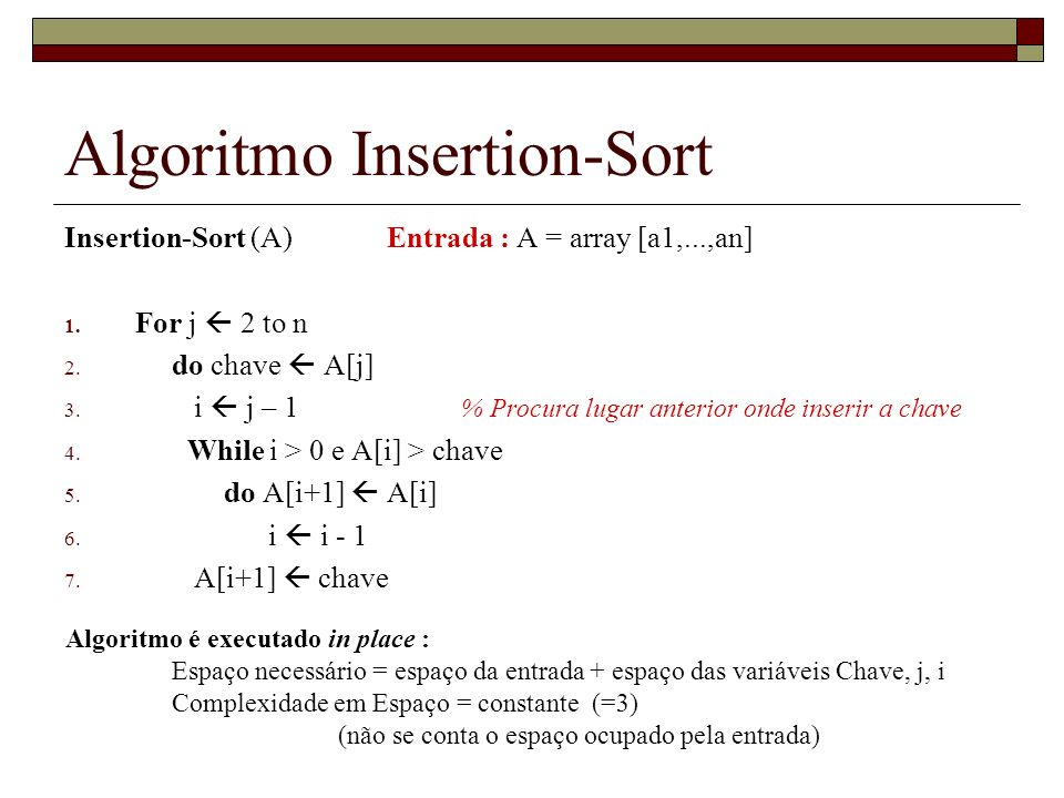 Algoritmo Insertion-Sort Insertion-Sort (A) Entrada : A = array [a1,...,an] 1. For j 2 to n 2. do chave A[j] 3. i j – 1 % Procura lugar anterior onde