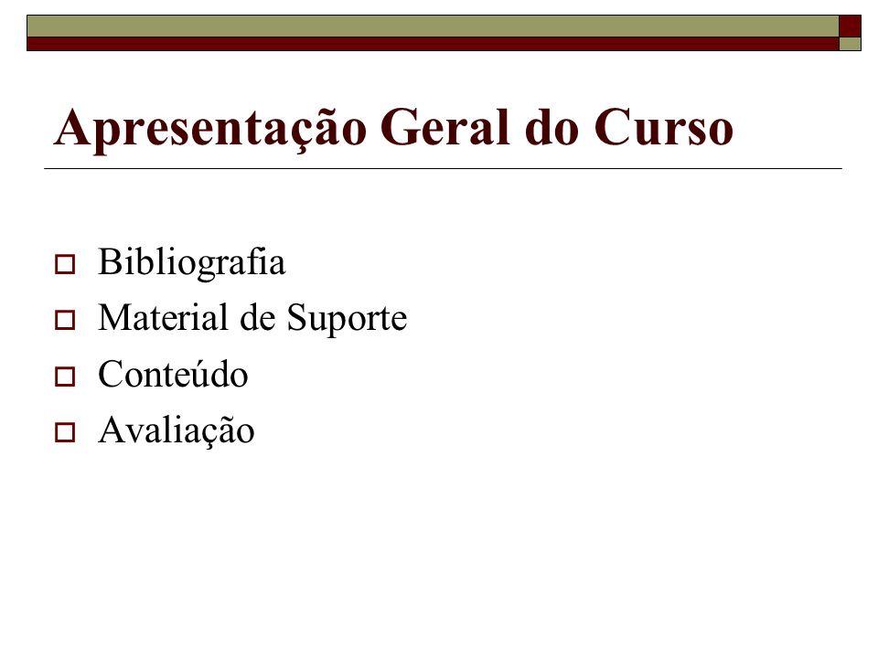 Apresentação Geral do Curso Bibliografia Material de Suporte Conteúdo Avaliação