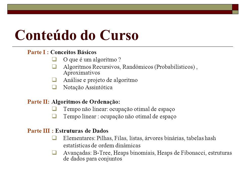 Conteúdo do Curso Parte I : Conceitos Básicos O que é um algoritmo ? Algoritmos Recursivos, Randômicos (Probabilísticos), Aproximativos Análise e proj