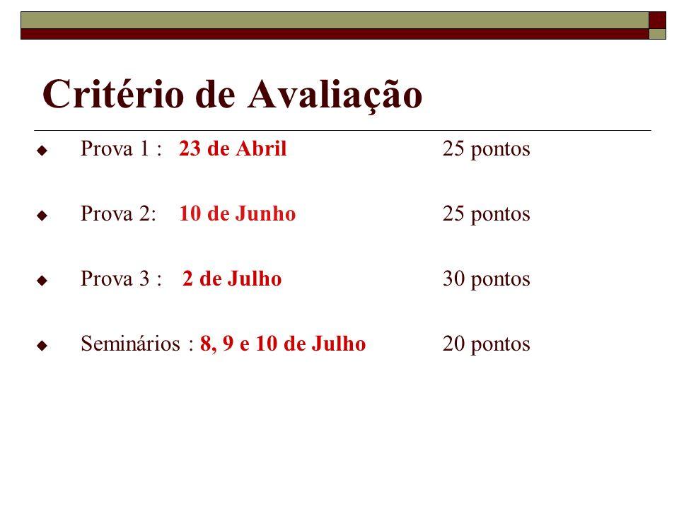 Critério de Avaliação Prova 1 : 23 de Abril 25 pontos Prova 2: 10 de Junho25 pontos Prova 3 : 2 de Julho30 pontos Seminários : 8, 9 e 10 de Julho20 po