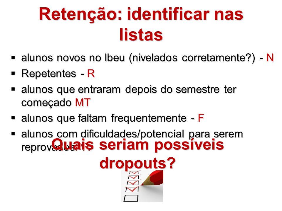 Retenção: identificar nas listas alunos novos no Ibeu (nivelados corretamente?) - N alunos novos no Ibeu (nivelados corretamente?) - N Repetentes - R