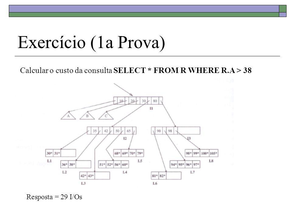 Exercício (1a Prova) Calcular o custo da consulta SELECT * FROM R WHERE R.A > 38 Resposta = 29 I/Os