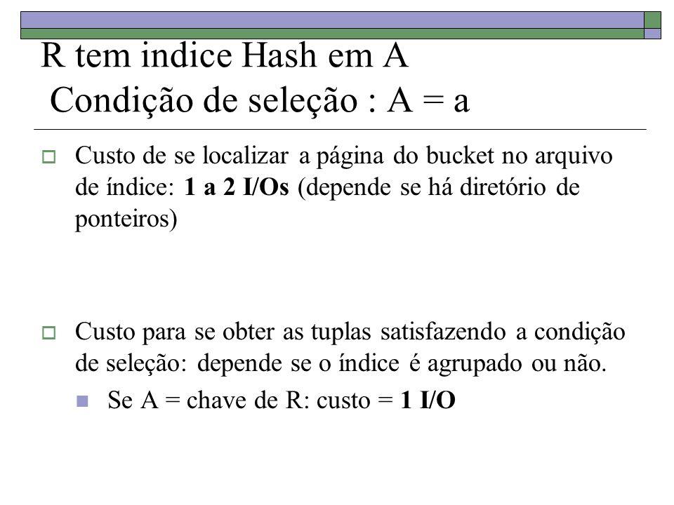 R tem indice Hash em A Condição de seleção : A = a Custo de se localizar a página do bucket no arquivo de índice: 1 a 2 I/Os (depende se há diretório de ponteiros) Custo para se obter as tuplas satisfazendo a condição de seleção: depende se o índice é agrupado ou não.