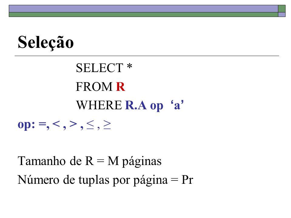 Seleção SELECT * FROM R WHERE R.A op a op: =,,, Tamanho de R = M páginas Número de tuplas por página = Pr