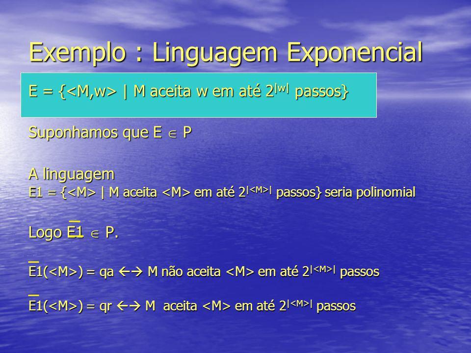Como E1 P então existe máquina de Turing M* que decide E1 em O(p(n)), p = polinômio Sabemos que existe n 0 tal que para n n 0, p(n) 2 n Podemos supor que | | n 0 Logo p(| | ) 2 | | O que acontece se aplicarmos M* a .