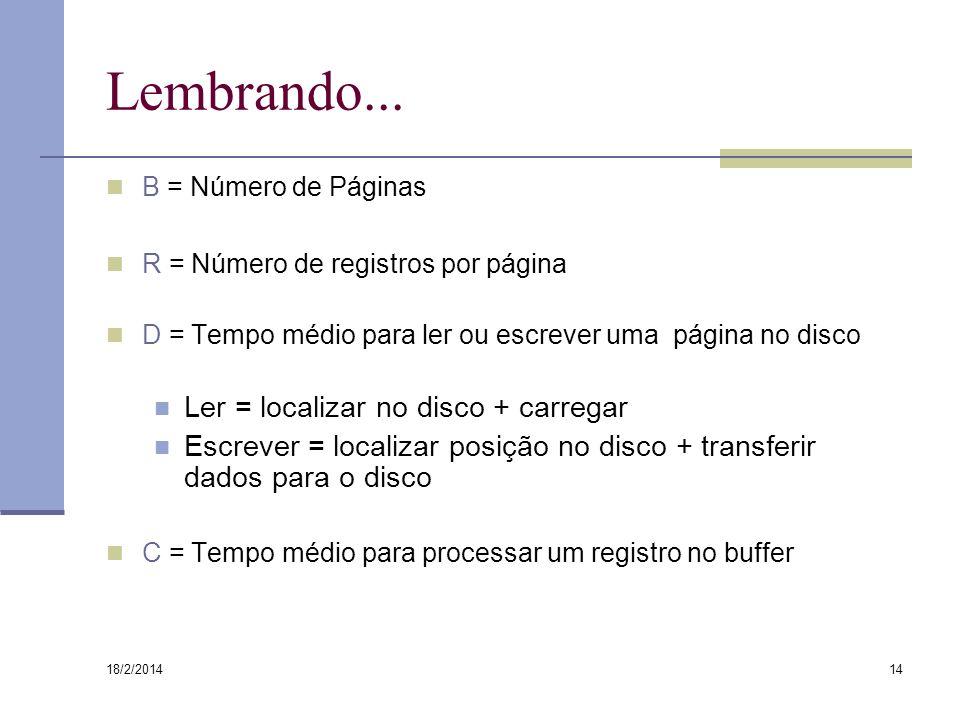 18/2/2014 14 Lembrando... B = Número de Páginas R = Número de registros por página D = Tempo médio para ler ou escrever uma página no disco Ler = loca