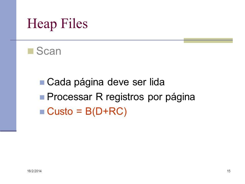 18/2/2014 15 Heap Files Scan Cada página deve ser lida Processar R registros por página Custo = B(D+RC)