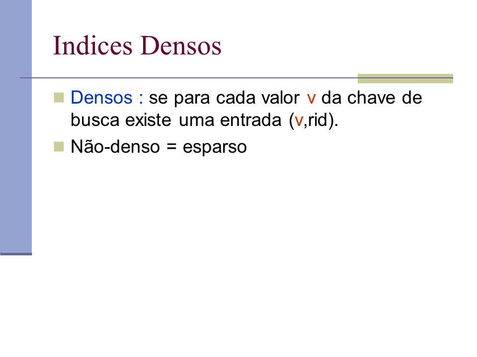 Indices Densos Densos : se para cada valor v da chave de busca existe uma entrada (v,rid). Não-denso = esparso