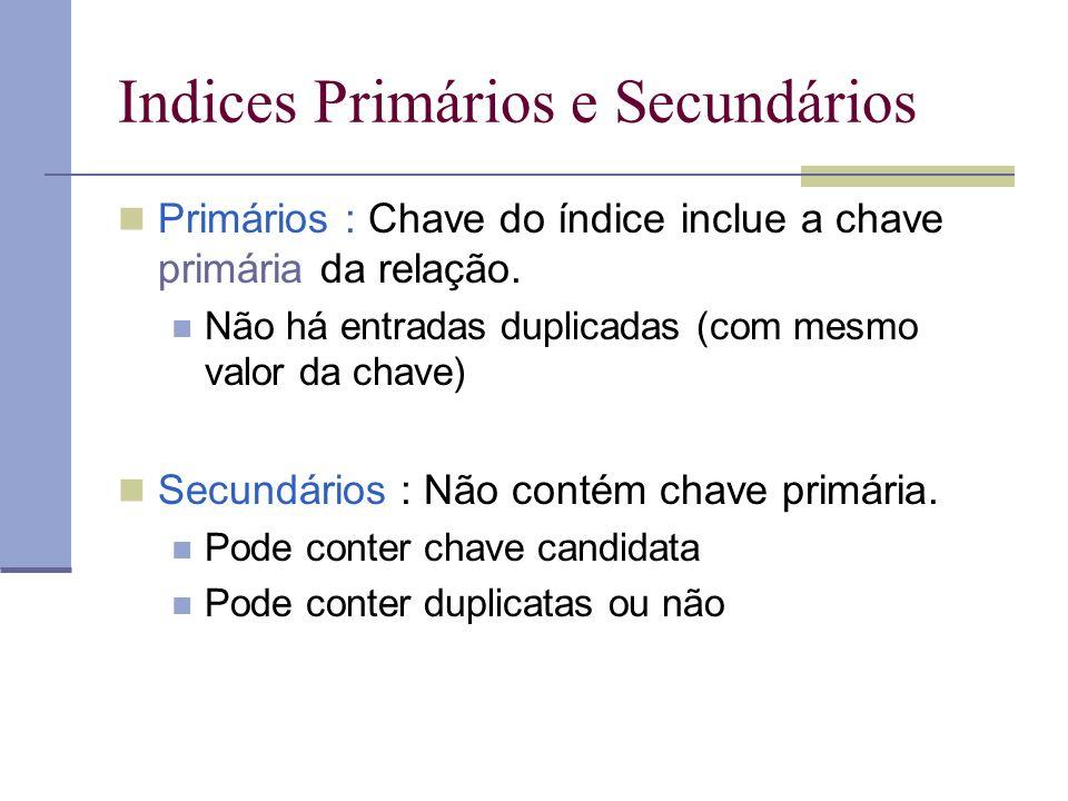 Indices Primários e Secundários Primários : Chave do índice inclue a chave primária da relação. Não há entradas duplicadas (com mesmo valor da chave)