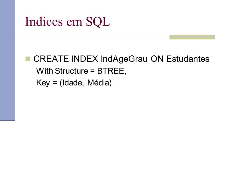 Indices em SQL CREATE INDEX IndAgeGrau ON Estudantes With Structure = BTREE, Key = (Idade, Média)