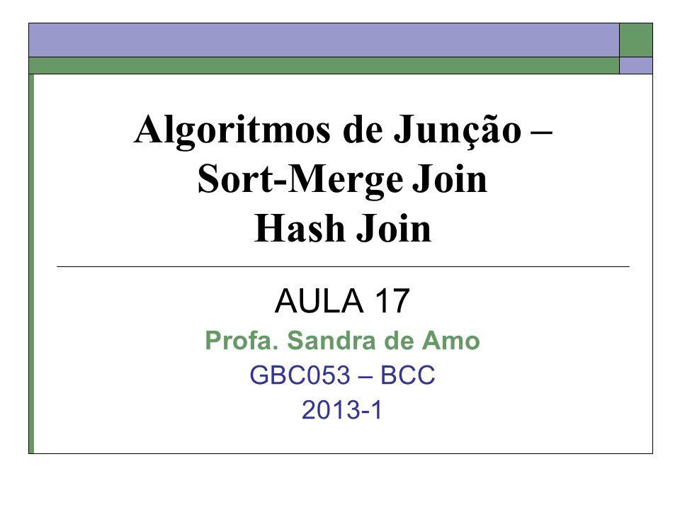 Algoritmos de Junção – Sort-Merge Join Hash Join AULA 17 Profa. Sandra de Amo GBC053 – BCC 2013-1