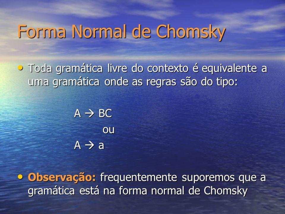 Forma Normal de Chomsky Toda gramática livre do contexto é equivalente a uma gramática onde as regras são do tipo: Toda gramática livre do contexto é