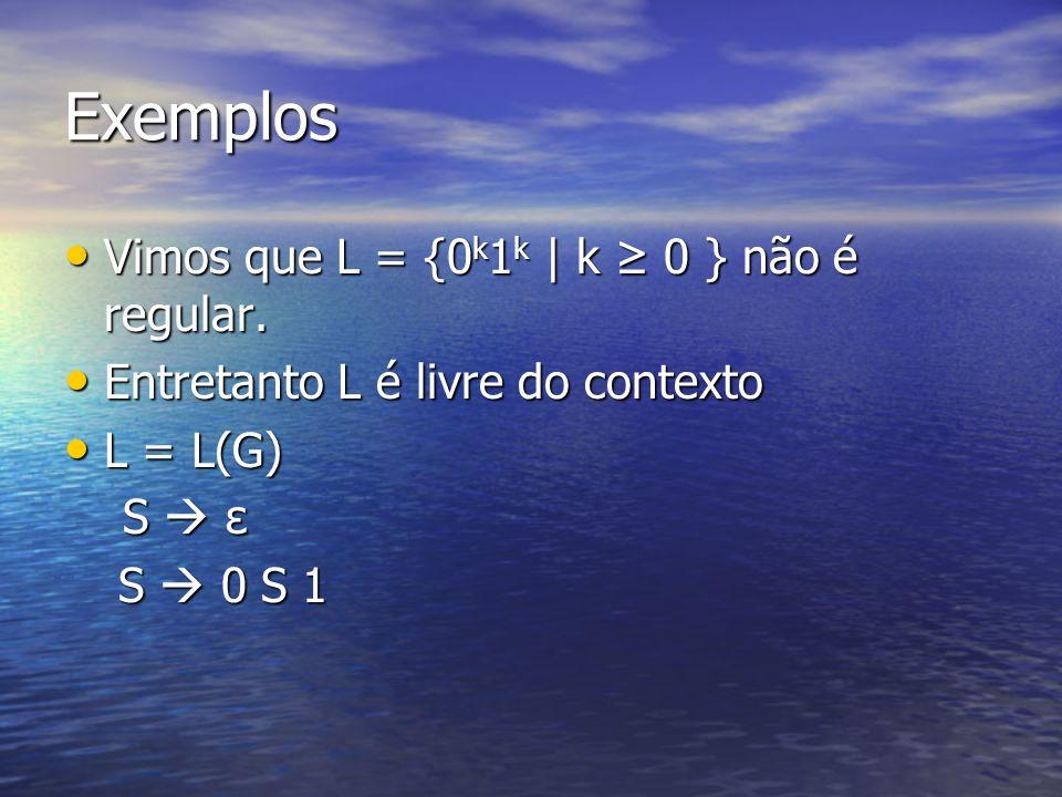 Exemplos Vimos que L = {0 k 1 k | k 0 } não é regular. Vimos que L = {0 k 1 k | k 0 } não é regular. Entretanto L é livre do contexto Entretanto L é l