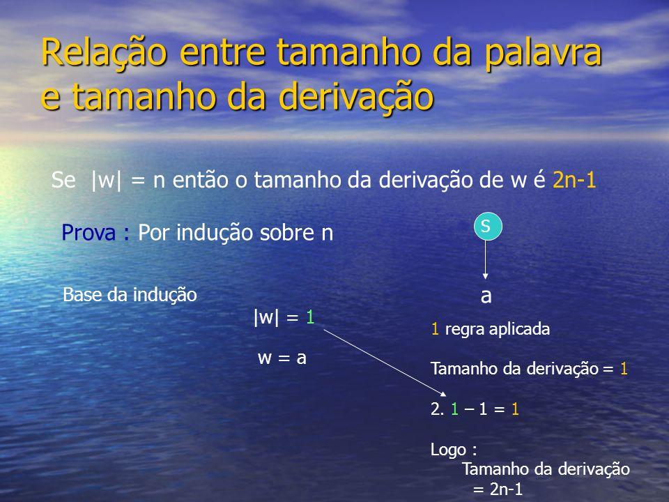 Relação entre tamanho da palavra e tamanho da derivação Se |w| = n então o tamanho da derivação de w é 2n-1 |w| = 1 S w = a a Prova : Por indução sobr