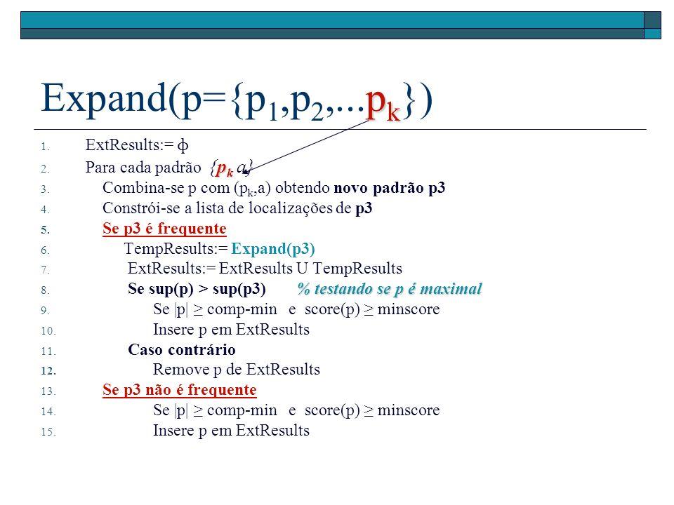 p k Expand(p={p 1,p 2,...p k }) 1. ExtResults:= ɸ p k 2.