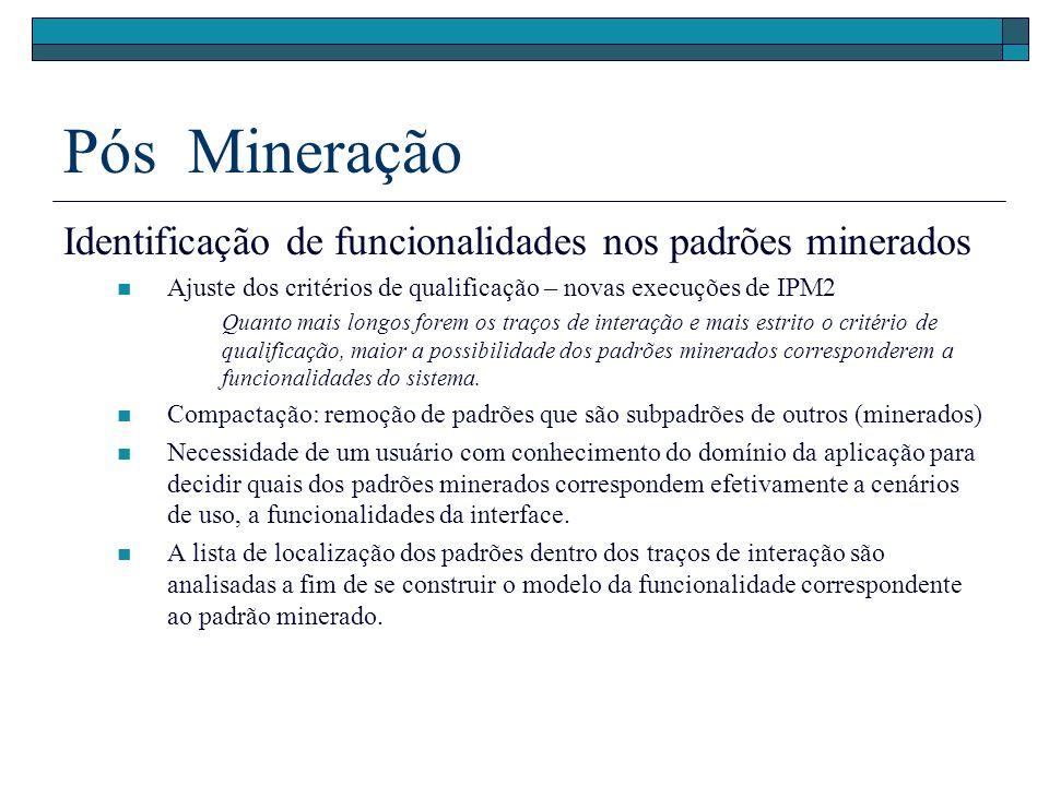 Pós Mineração Identificação de funcionalidades nos padrões minerados Ajuste dos critérios de qualificação – novas execuções de IPM2 Quanto mais longos forem os traços de interação e mais estrito o critério de qualificação, maior a possibilidade dos padrões minerados corresponderem a funcionalidades do sistema.