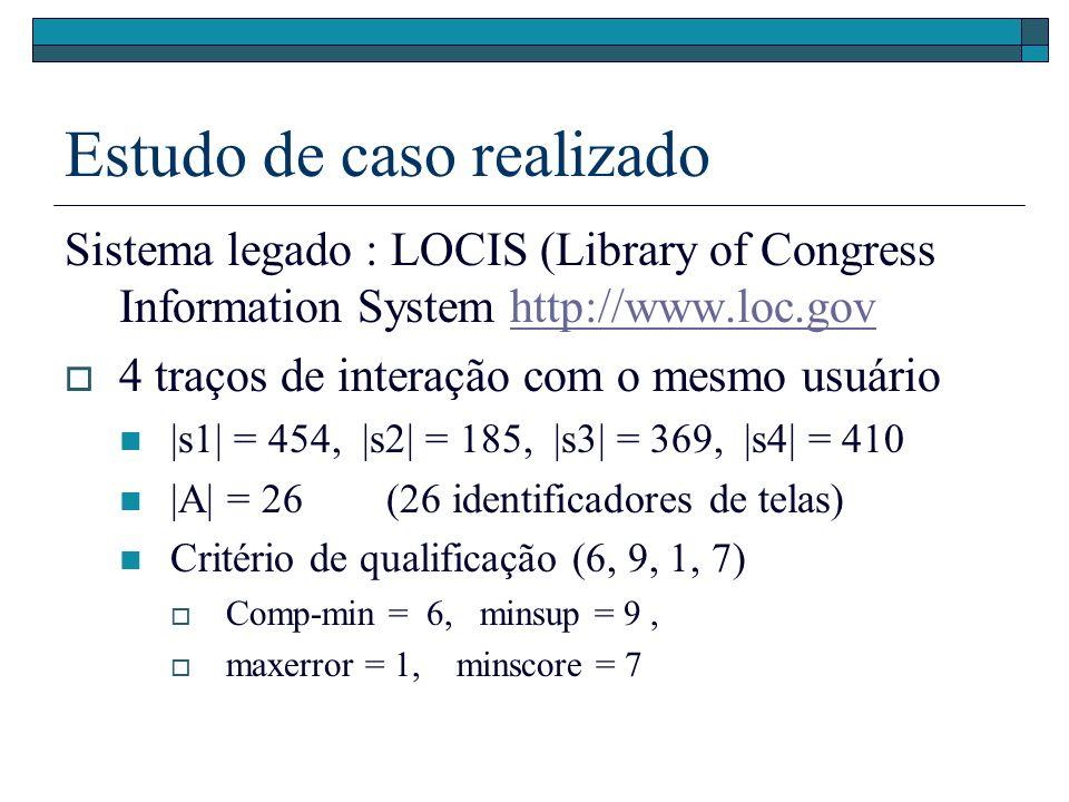Estudo de caso realizado Sistema legado : LOCIS (Library of Congress Information System http://www.loc.govhttp://www.loc.gov 4 traços de interação com o mesmo usuário |s1| = 454, |s2| = 185, |s3| = 369, |s4| = 410 |A| = 26 (26 identificadores de telas) Critério de qualificação (6, 9, 1, 7) Comp-min = 6, minsup = 9, maxerror = 1, minscore = 7