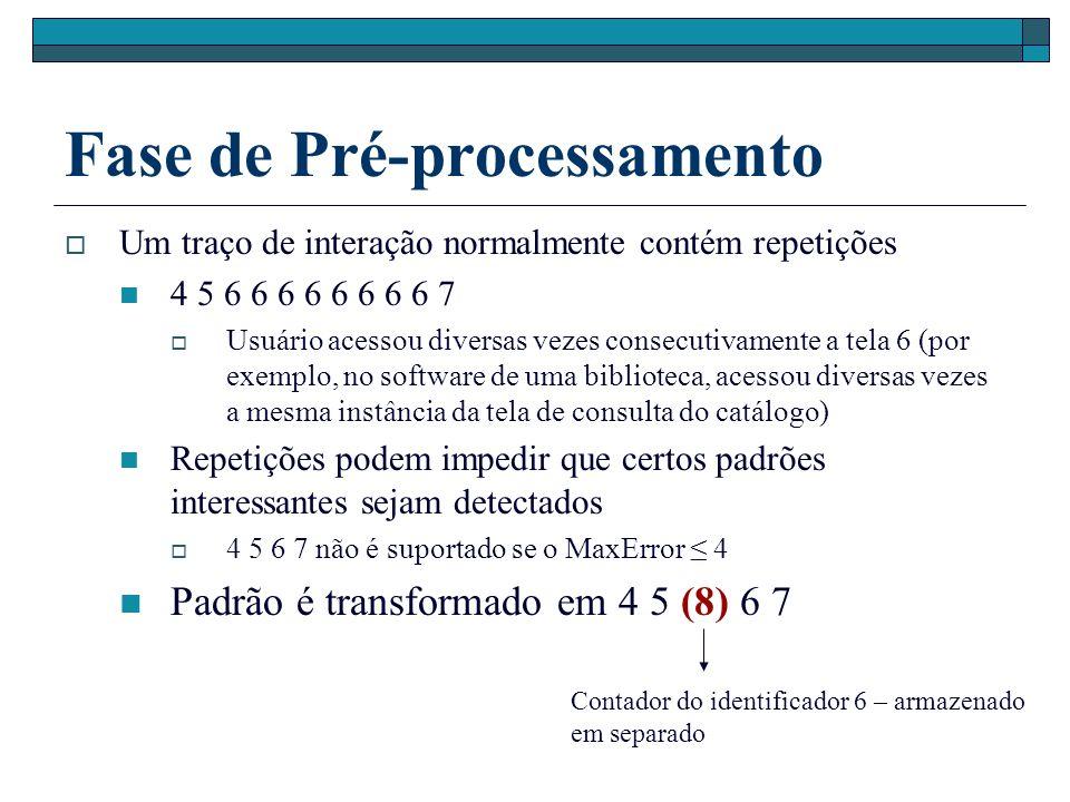 Fase de Pré-processamento Um traço de interação normalmente contém repetições 4 5 6 6 6 6 6 6 6 6 7 Usuário acessou diversas vezes consecutivamente a tela 6 (por exemplo, no software de uma biblioteca, acessou diversas vezes a mesma instância da tela de consulta do catálogo) Repetições podem impedir que certos padrões interessantes sejam detectados 4 5 6 7 não é suportado se o MaxError 4 Padrão é transformado em 4 5 (8) 6 7 Contador do identificador 6 – armazenado em separado