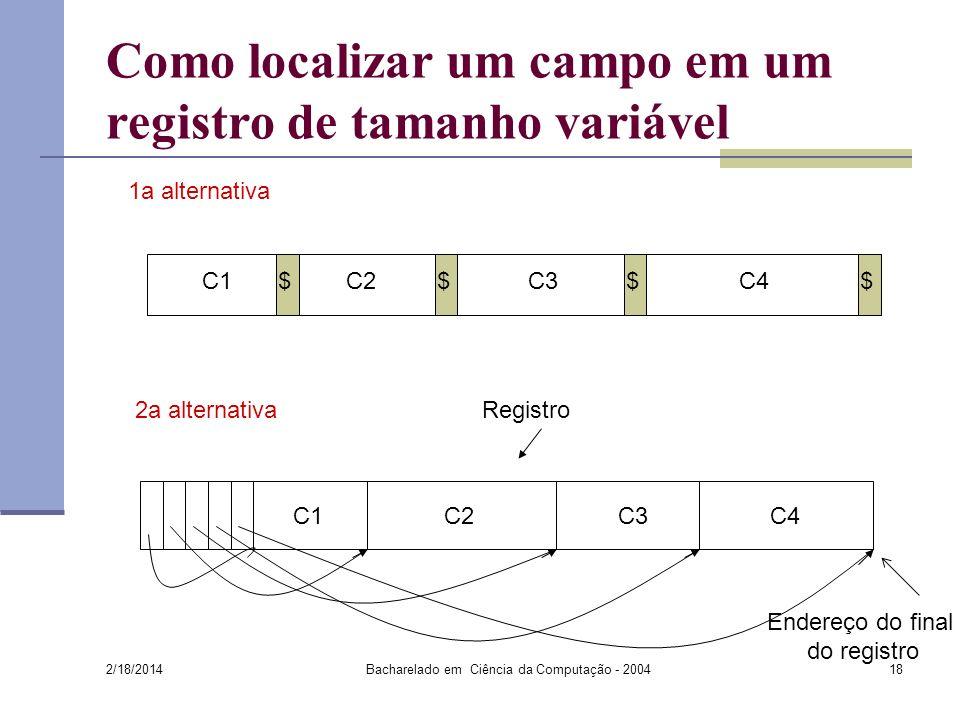 2/18/2014 Bacharelado em Ciência da Computação - 200418 Como localizar um campo em um registro de tamanho variável $$$$C1C4C3C2 C1C3C4C2 1a alternativa 2a alternativa Registro Endereço do final do registro