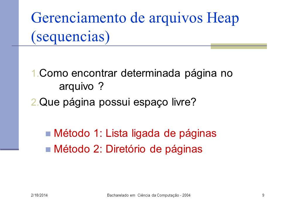 Gerenciamento de arquivos Heap (sequencias) 1.Como encontrar determinada página no arquivo .