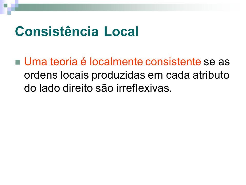 Consistência Local Uma teoria é localmente consistente se as ordens locais produzidas em cada atributo do lado direito são irreflexivas.