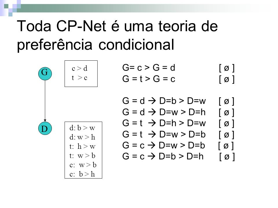 Toda CP-Net é uma teoria de preferência condicional G D c > d t > c G= c > G = d [ ø ] G = t > G = c [ ø ] G = d D=b > D=w [ ø ] G = d D=w > D=h [ ø ] G = t D=h > D=w [ ø ] G = t D=w > D=b [ ø ] G = c D=w > D=b [ ø ] G = c D=b > D=h [ ø ] d: b > w d: w > h t: h > w t: w > b c: w > b c: b > h