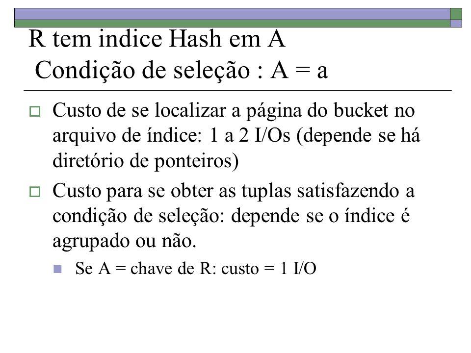 R tem indice Hash em A Condição de seleção : A = a Custo de se localizar a página do bucket no arquivo de índice: 1 a 2 I/Os (depende se há diretório