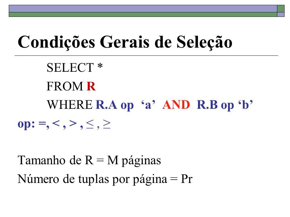 Condições Gerais de Seleção SELECT * FROM R WHERE R.A op a AND R.B op b op: =,,, Tamanho de R = M páginas Número de tuplas por página = Pr