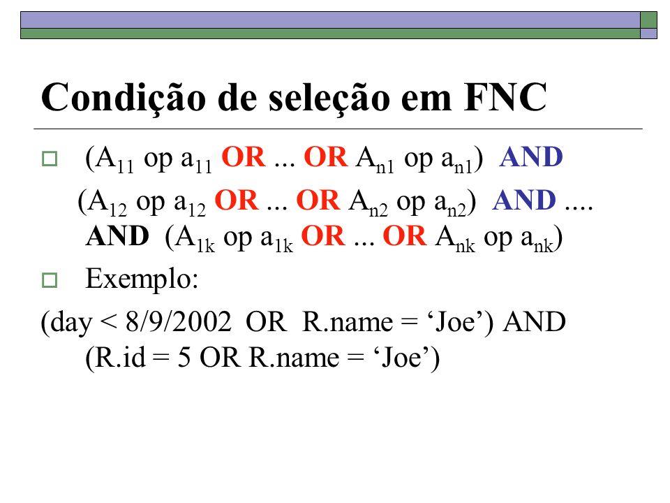 Condição de seleção em FNC (A 11 op a 11 OR... OR A n1 op a n1 ) AND (A 12 op a 12 OR... OR A n2 op a n2 ) AND.... AND (A 1k op a 1k OR... OR A nk op