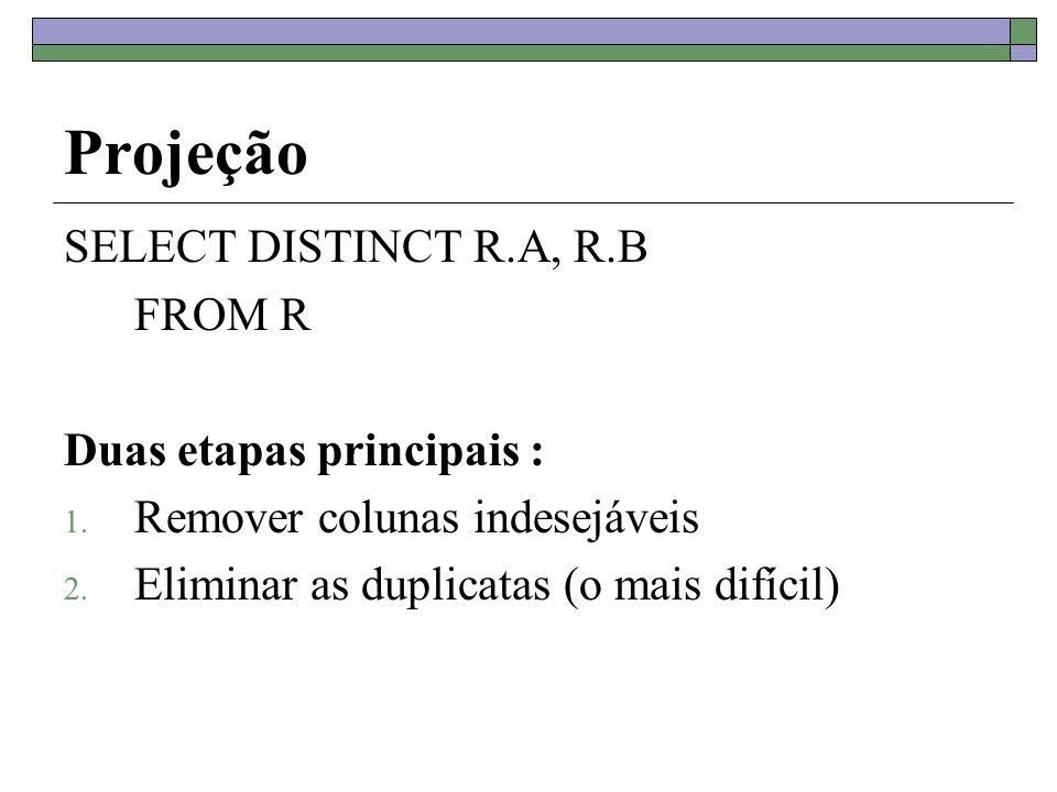 Projeção SELECT DISTINCT R.A, R.B FROM R Duas etapas principais : 1. Remover colunas indesejáveis 2. Eliminar as duplicatas (o mais difícil)