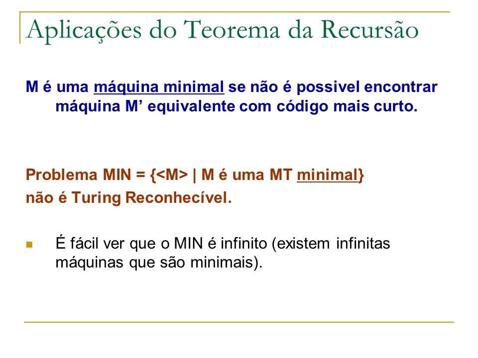 Aplicações do Teorema da Recursão M é uma máquina minimal se não é possivel encontrar máquina M equivalente com código mais curto. Problema MIN = { |