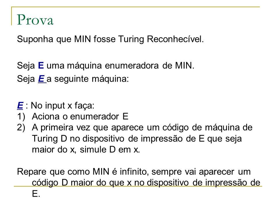 Prova Suponha que MIN fosse Turing Reconhecível. Seja E uma máquina enumeradora de MIN. Seja E a seguinte máquina: E : No input x faça: 1)Aciona o enu