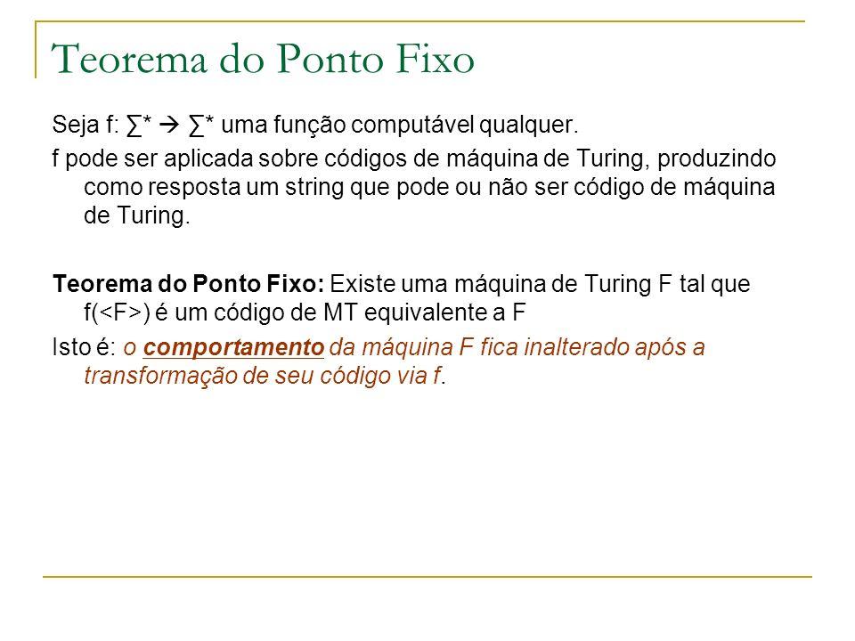 Teorema do Ponto Fixo Seja f: * * uma função computável qualquer. f pode ser aplicada sobre códigos de máquina de Turing, produzindo como resposta um