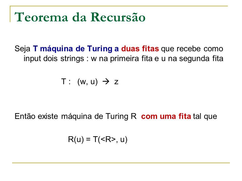 Teorema da Recursão Seja T máquina de Turing a duas fitas que recebe como input dois strings : w na primeira fita e u na segunda fita T : (w, u) z Ent