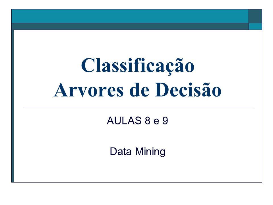 Classificação Arvores de Decisão AULAS 8 e 9 Data Mining