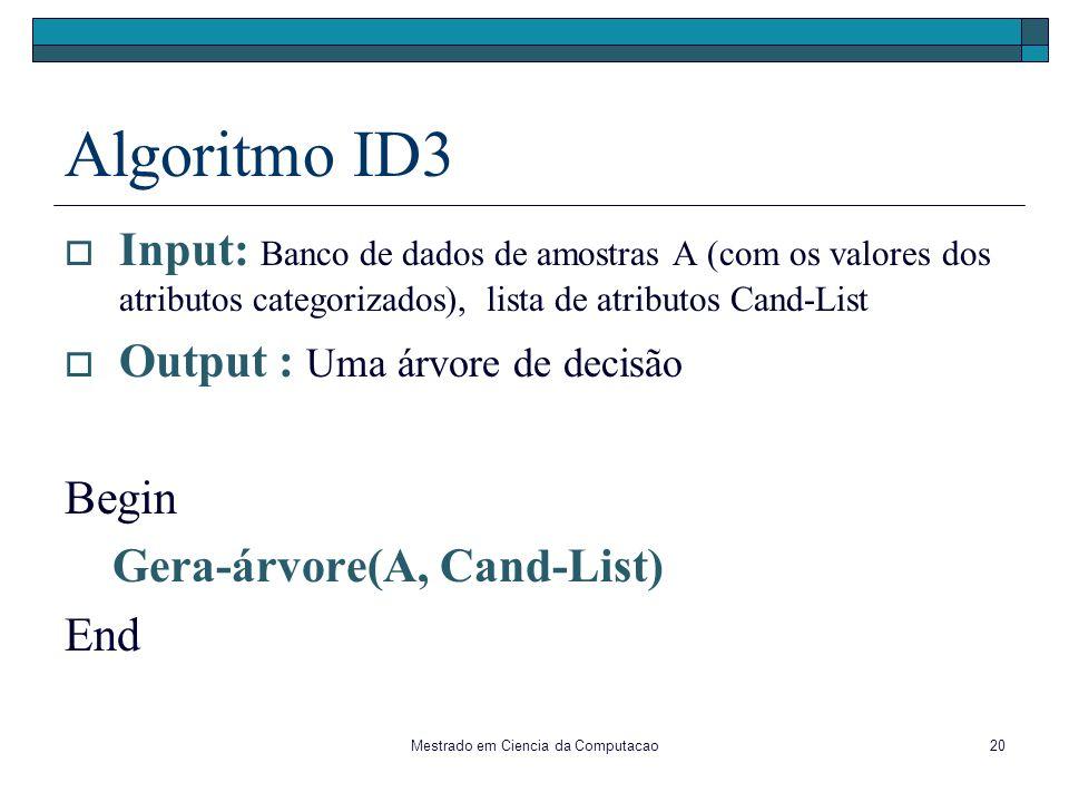 Mestrado em Ciencia da Computacao20 Algoritmo ID3 Input: Banco de dados de amostras A (com os valores dos atributos categorizados), lista de atributos