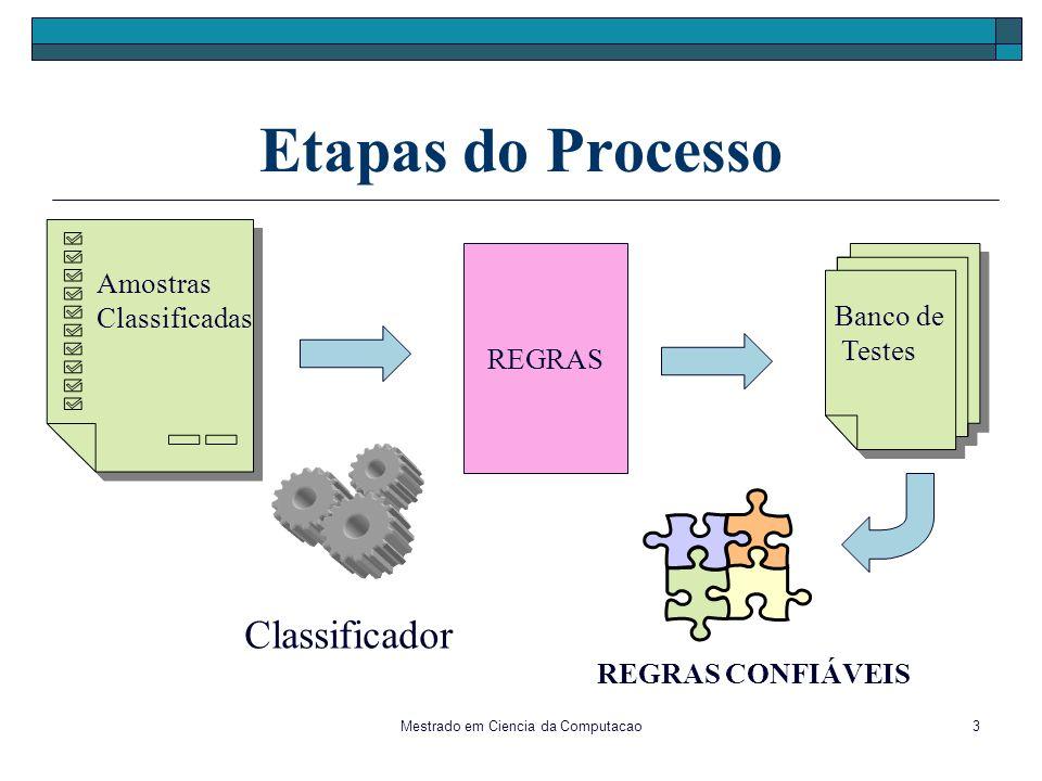 Mestrado em Ciencia da Computacao3 Etapas do Processo REGRAS Classificador Amostras Classificadas Banco de Testes REGRAS CONFIÁVEIS