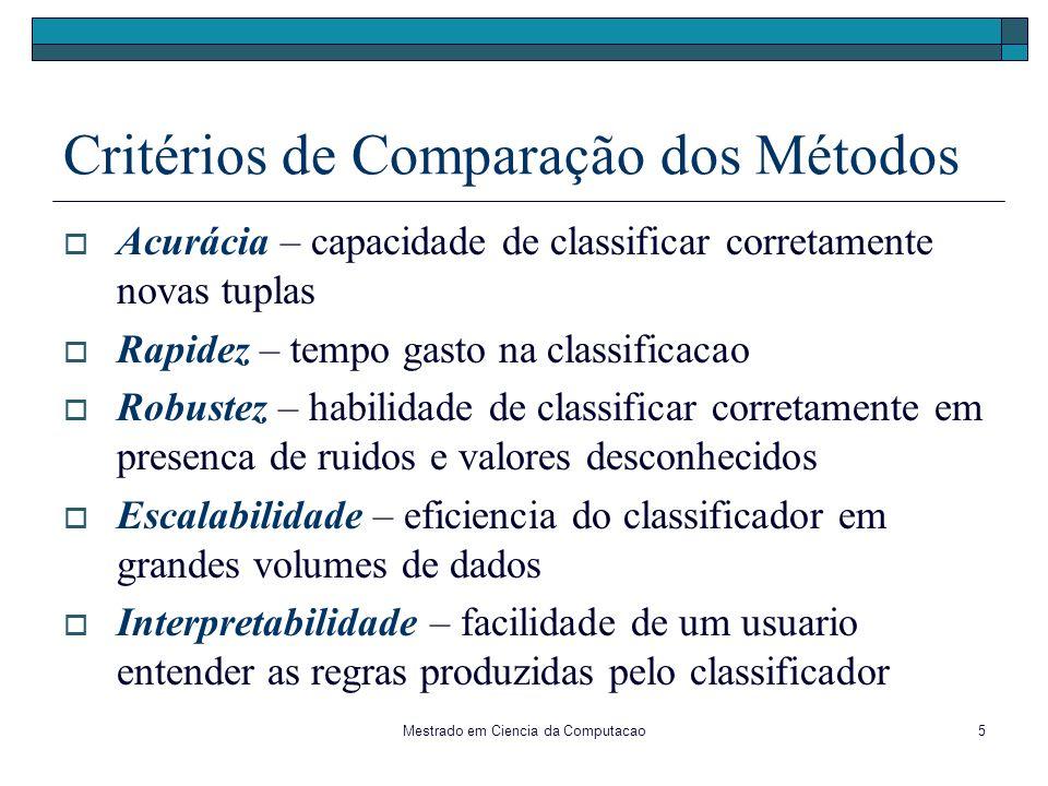 Mestrado em Ciencia da Computacao5 Critérios de Comparação dos Métodos Acurácia – capacidade de classificar corretamente novas tuplas Rapidez – tempo